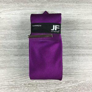 JF J. Ferrar Solid Purple Silk Narrow Tie